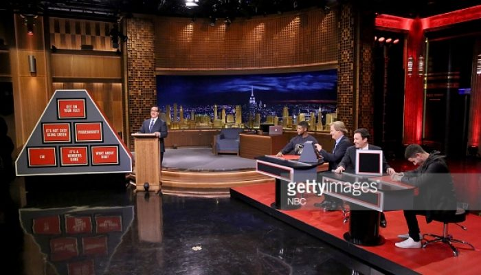 THE TONIGHT SHOW STARRING JIMMY FALLON -- Episode 0159 -- Pictured: (l-r) Announcer Steve Higgins, Usher, actor Jeff Daniels, host Jimmy Fallon and singer Nick Jonas play Pyramid on November 10, 2014 -- (Photo by: Douglas Gorenstein/NBC/NBCU Photo Bank)