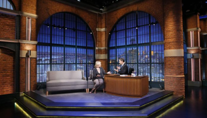 LATE NIGHT WITH SETH MEYERS -- Episode 100 -- Pictured: (l-r) Martha Stewart during an interview with host Seth Meyers on September 22, 2014 -- (Photo by: Lloyd Bishop/NBC/NBCU Photo Bank)